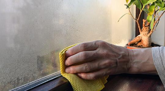 Kondensfeuchtigkeit am Fenster
