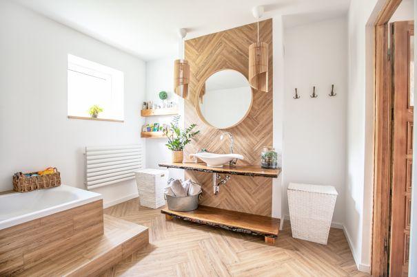 Boho Stil Badezimmer - Holz