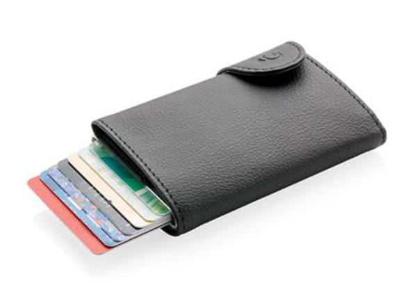 Schwarzer Kartenhalter und Geldbörse als Werbeartikel in Frankfurt