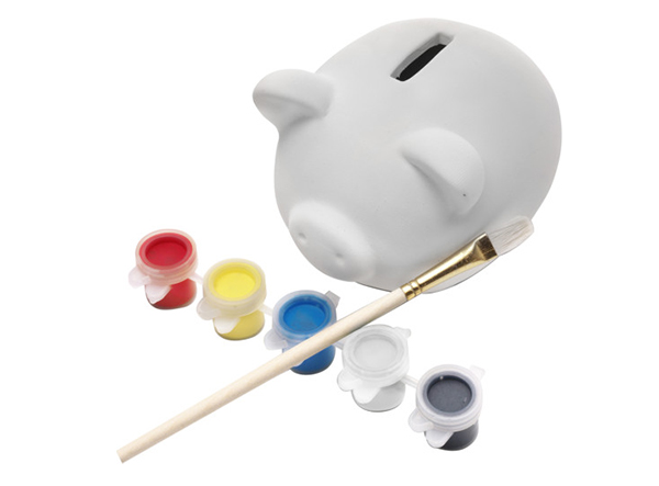 Gipssparschwein mit 5 Farben und Pinsel zum Selbstbemalen