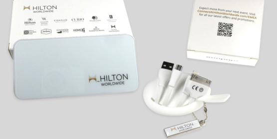 Multi-Ladekabel und Powerbank im Hilton Design