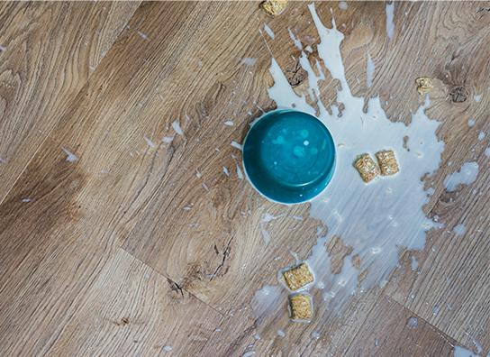 Vinylboden mit ausgekippter Cornflakes-Schüssel