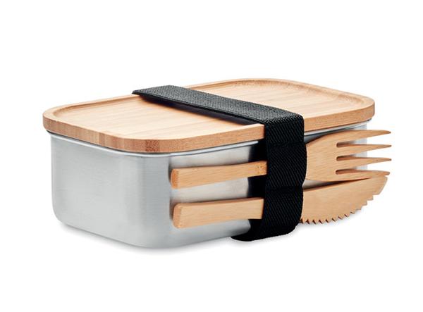 Edelstahl Lunchbox mit Besteck als Trendartikel