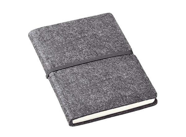 Anthrazitfarbenes Notizbuch mit Filz-Einband und schwarzem Gummiband