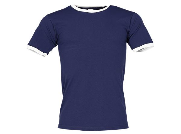 Blaues Ringer T-Shirt als Merchandise
