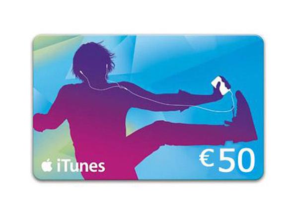 iTunes Geschenkkarte mit blau-lilanem Motiv als Prämie