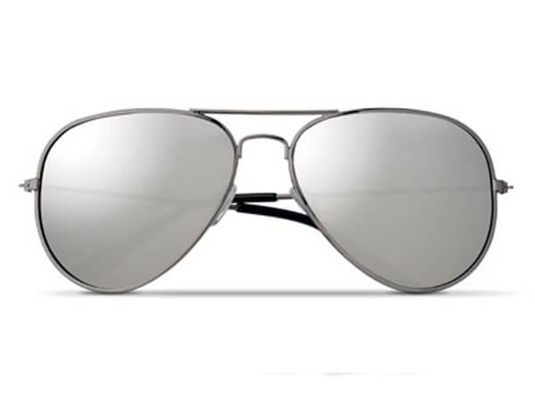 trendige schwarze verspiegelte Sonnenbrille als Werbartikel