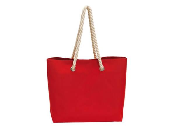 Rote Tasche im Marine-Look