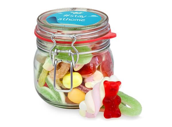 Süßigkeiten im praktischen Bügelglas als Werbeartikel