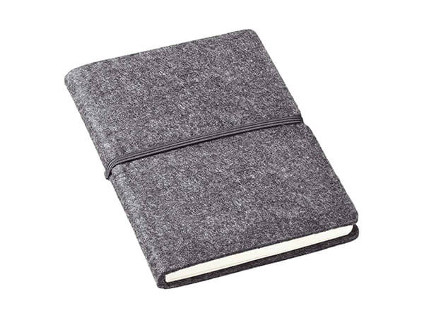 graues Notizbuch mit Filzeinband als Werbeartikel